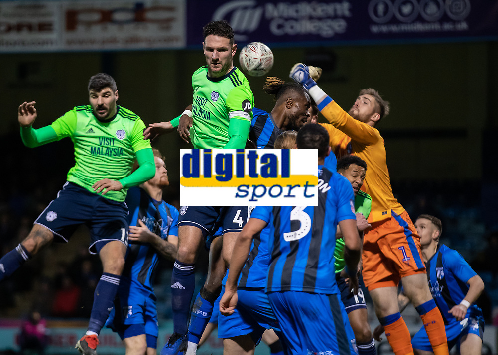 Football - 2018 / 2019 FA Cup - Third Round: Gillingham vs. Cardiff City<br /> <br /> Gillingham Fc defend resolutely as the corner comes in at Priestfield Stadium.<br /> <br /> COLORSPORT/DANIEL BEARHAM