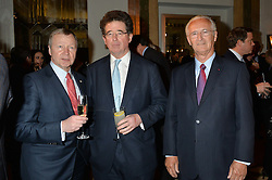 Left to right, WINFRIED ENGELBRECHT-BRESGES Vice Chairman of the IFHA, LORD GRIMTHORPE and LOUIS ROMANET Chairman of the IFHA at the Longines World's Best Racehorse Awards 2014 hosted by Longines and the International Federation of Horseracing Authorities held at Claridge's, Brook Street, London on 20th January 2015.
