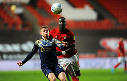 Famara Diedhiou of Bristol City competes with Kilian Ludewig of Barnsley-Mandatory by-line: Nizaam Jones/JMP - 18/01/2020 - FOOTBALL - Ashton Gate - Bristol, England - Bristol City v Barnsley - Sky Bet Championship