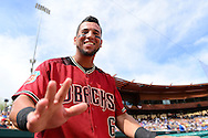 GLENDALE, AZ - MARCH 05:  Outfielder David Peralta #6 of the Arizona Diamondbacks smiles for a photo prior to the spring training game against the Los Angeles Dodgers at Camelback Ranch on March 5, 2016 in Glendale, Arizona.  (Photo by Jennifer Stewart/Getty Images) *** Local Caption *** David Peralta