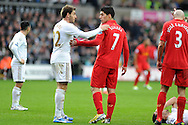 Swansea's Angel Rangel (l) has words with Liverpool's Luis Suarez. Barclays Premier league, Swansea city v Liverpool at the Liberty Stadium in Swansea , South Wales on Sunday 25th November 2012. pic by Andrew Orchard, Andrew Orchard sports photography,