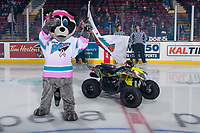 KELOWNA, CANADA - OCTOBER 21: Kelowna Rockets' mascot Rocky Racoon stands on the ice at the start of the game against the Portland Winterhawks on October 21, 2017 at Prospera Place in Kelowna, British Columbia, Canada.  (Photo by Marissa Baecker/Shoot the Breeze)  *** Local Caption ***