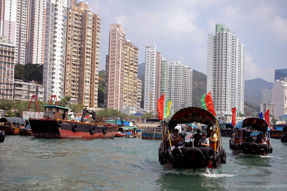 Asia, China, Hong Kong. Aberdeen Harbor cruise in a traditional sampan.