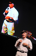 "HILLTOWN, PA -  MARCH 7: Animal expert and celebrity Jack Hanna takes the stage at Calvary Church for his ""Into the Wild Live"" presentation March 7, 2014 in Hilltown, Pennsylvania.  Hanna is known for his many appearances bringing animals to the late-night talk show circuit. The event is a fundraiser for children and adults with intellectual and developmental disabilities. (Photo by William Thomas Cain/Cain Images)"