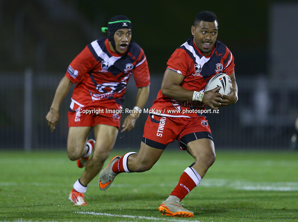 Alan Niulevu of Counties makes a break at the NZRL national premiership match between Akarana Falcons vs Counties Manukau Stingrays, at Mt Smart stadium, Auckland, 16 September 2016. Copyright Image: Renee McKay / www.photosport.nz