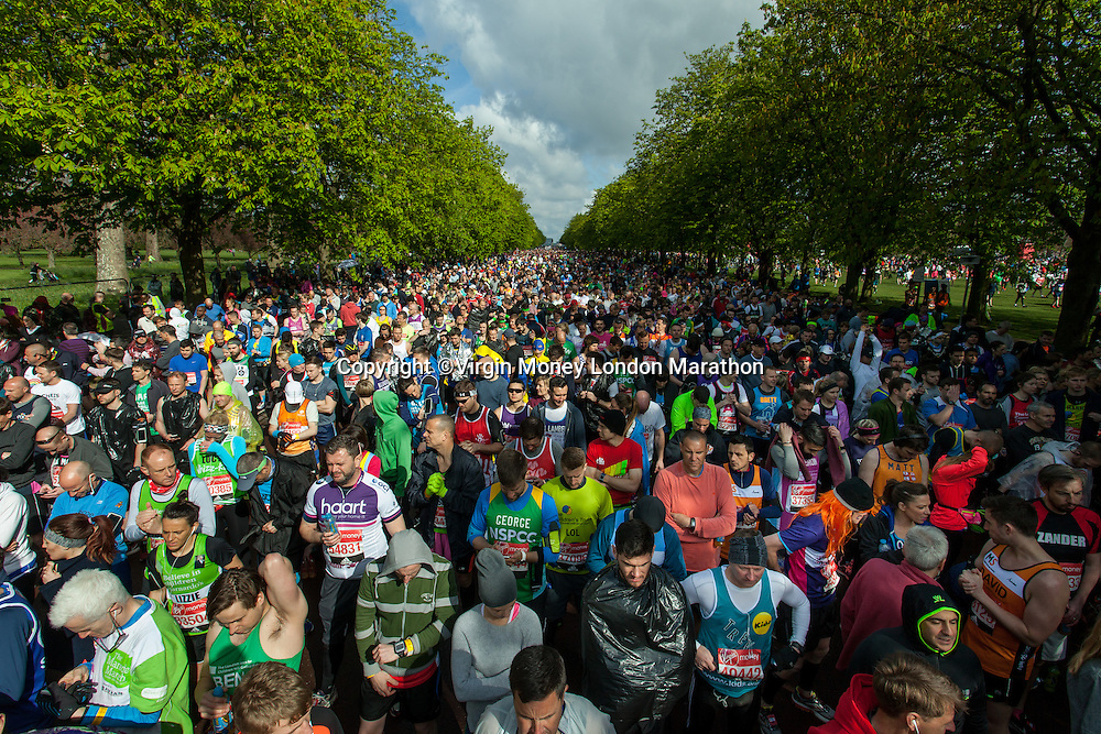 Athletes at the Red Start in Greenwich Park. The Virgin Money London Marathon, Sunday 24th April 2016.<br /> <br /> Photo: Dillon Bryden for Virgin Money London Marathon<br /> <br /> For more information please contact media@londonmarathonevents.co.uk
