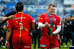 Richard Wigglesworth of Saracens celebrates winning the Heineken Champions Cup after beating Leinster Rugby - Mandatory by-line: Robbie Stephenson/JMP - 11/05/2019 - RUGBY - St James' Park - Newcastle, England - Leinster Rugby v Saracens - Heineken Champions Cup Final