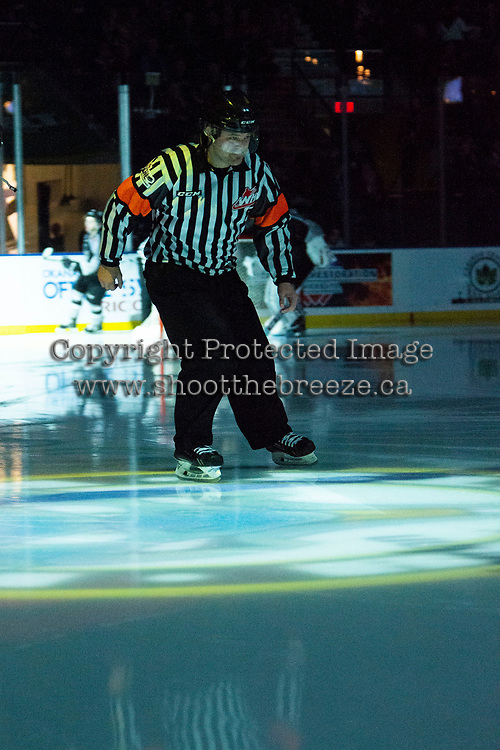 KELOWNA, BC - JANUARY 4:  Referee Chris Crich enters the ice at the Kelowna Rockets against the Vancouver Giants at Prospera Place on January 4, 2020 in Kelowna, Canada. (Photo by Marissa Baecker/Shoot the Breeze)
