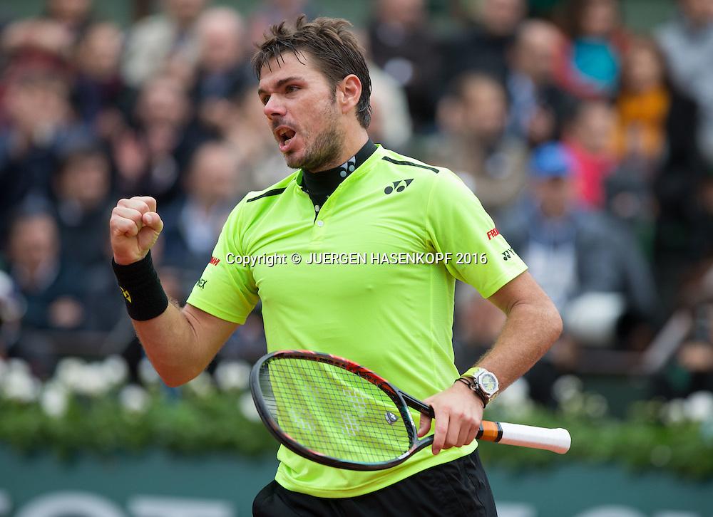 Stan Wawrinka (SUI) macht die Faust und jubelt,Jubel,Freude,Emotion,<br /> <br /> <br /> Tennis - French Open 2016 - Grand Slam ITF / ATP / WTA -  Roland Garros - Paris -  - France  - 3 June 2016.