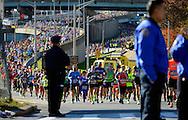 New York Marathon runners coming from Verrazano-Narrow Bridge, New York City, NY. 2016