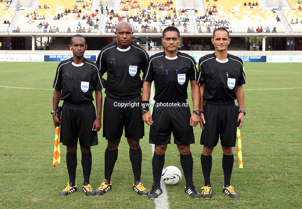 Referee Norbert Hauata and his assistants. 2016 OFC Nations Cup, New Zealand v Fiji, Sir John Guise Stadium, Port Moresby, Papua New Guinea, Saturday 28th May 2016. Photo: Shane Wenzlick / www.phototek.nz