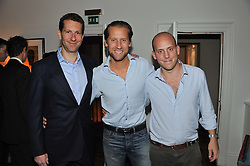 Left to right, MARLON ABELA, JAKE PARKINSON-SMITH and CARLO CARELLO at a dinner hosted by Marlon and Nadya Abela in aid of Kids Company at Morton's, Berkeley Square, London on 25th September 2012.