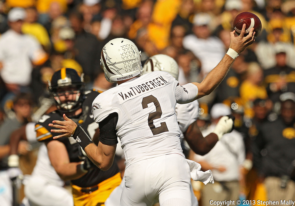 September 21 2013: Western Michigan Broncos quarterback Tyler Van Tubbergen (2) throws a pass during the first quarter of the NCAA football game between the Western Michigan Broncos and the Iowa Hawkeyes at Kinnick Stadium in Iowa City, Iowa on September 21, 2013. Iowa defeated Western Michigan 59-3.