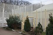 The secure perimeter fence and gates. HMP Send, closed female prison. Ripley, Surrey.