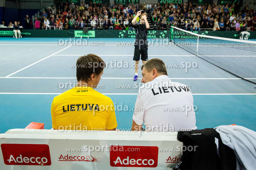 Richardas Berankis of Lithuania and Rimvydas Mugevicius of Lithunia during Davis Cup Slovenia vs Lithuania competition, on October 30, 2015 in Kranj, Slovenia. Photo by Vid Ponikvar / Sportida