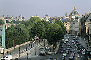 France. Paris. elevated view. the seine river quays . view from the hotel du quai Voltaire