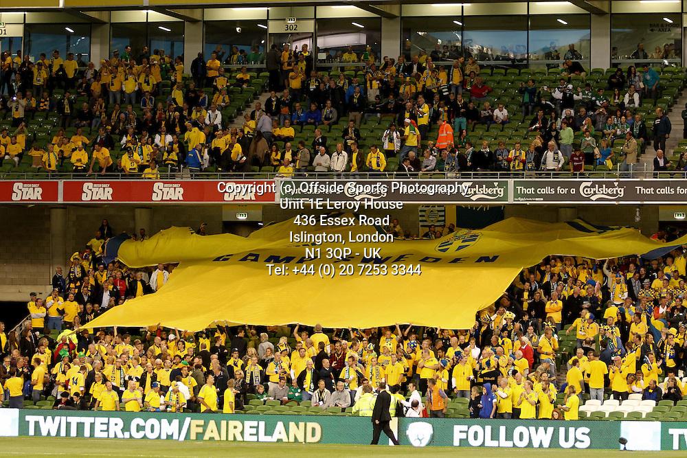 06/09/2013 FIFA 2014 World Cup Qualifying - Group C . Rep of Ireland v Sweden<br /> A large Sweden banner unfolded at the Aviva Stadium<br /> Photo: John Halas