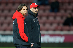 LONDON, ENGLAND - Tuesday, February 9, 2016: Liverpool's manager Jürgen Klopp returns after surgery to remove his appendix with assistant manager Zeljko Buvac before the FA Cup 4th Round Replay match against West Ham United at Upton Park. (Pic by David Rawcliffe/Propaganda)