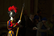 06/01/2015 Vatican City, Pope Francis leads Epiphany mass at St Peter's Basilica. In the picture a swiss guard
