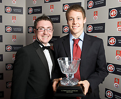 CARDIFF, WALES - Tuesday, October 7, 2008: Media Wales journalist Chris Watham with Wales' FAW Young Player of the Year Chris Gunter with his award at the Brains Beer Wales Football Awards at the Millennium Stadium. (Photo by David Rawcliffe/Propaganda)
