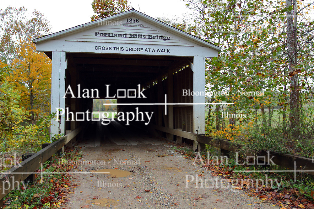 24 October 2017: Portland Mills Bridge.<br />   Parke County Indiana is the site of the Indiana Covered Bridge Festival every October