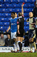 Photo: Leigh Quinnell.<br /> Birmingham City v Newcastle United. The FA Cup. 06/01/2007. Birminghams Radhi Jaidi is sent off by referee M.Dean for a foul on Newcastles Obafemi Martins.