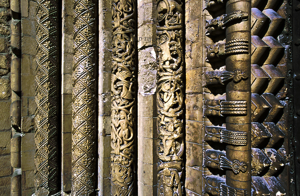 Portal, Lincoln Cathedral, England, showing detail of pilasters on the left hand side of the entrance.