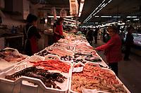 Fresh fish are for sale at the daily Fish market in the Mercado Central in Castellon de la Plana in Spain.