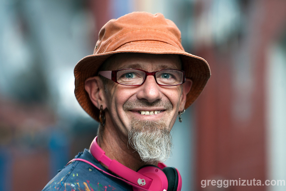 Mural artist Ray Caraway at Freak Alley Gallery sixth annual mural event in downtown Boise, Idaho on August 11, 2016. <br /> <br /> Freak Alley Gallery's week long event provided an &quot;art-in-motion&quot; experience as it welcomed the public to watch artists work on their murals.