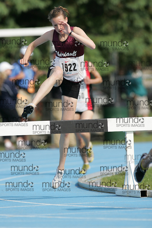 Britney Allard competing in the 2000m steeple chase at the 2007 OFSAA Ontario High School Track and Field Championships in Ottawa.