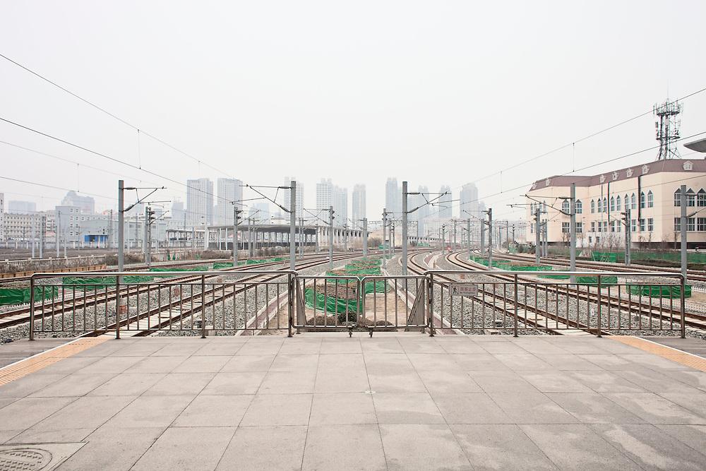 View of Tianjin city from train platform. Tianjin, China. 2012