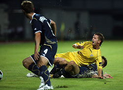Janez Aljancic  (3) of Domzale foultet by Milan Badelj of Dinamo at 1st football game of 2nd Qualifying Round for UEFA Champions league between NK Domzale vs HNK Dinamo Zagreb, on July 30, 2008, in Domzale, Slovenia. Dinamo won 3:0. (Photo by Vid Ponikvar / Sportal Images)