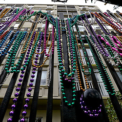 Jan 30, 2013; New Orleans, LA, USA; A detailed view of beads lining a fence of a home along St. Charles Avenue in Uptown New Orleans. Super Bowl XLVII will be played between the San Francisco 49ers and the Baltimore Ravens on February 3, 2013 at the Mercedes-Benz Superdome. Mandatory Credit: Derick E. Hingle-USA TODAY Sports