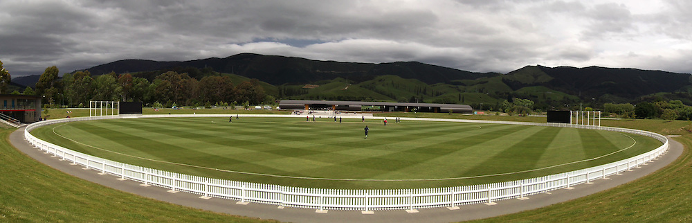 General view of Saxton Oval with the new Pavilion in the background during  NZCPA Masters v Nelson at Saxton Oval, Nelson, New Zealand. Sunday 20 November 2011. Photo: Chris Symes/www.photosport.co.nz
