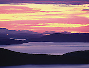 Intense sunset over San Juan Islands, Washington State