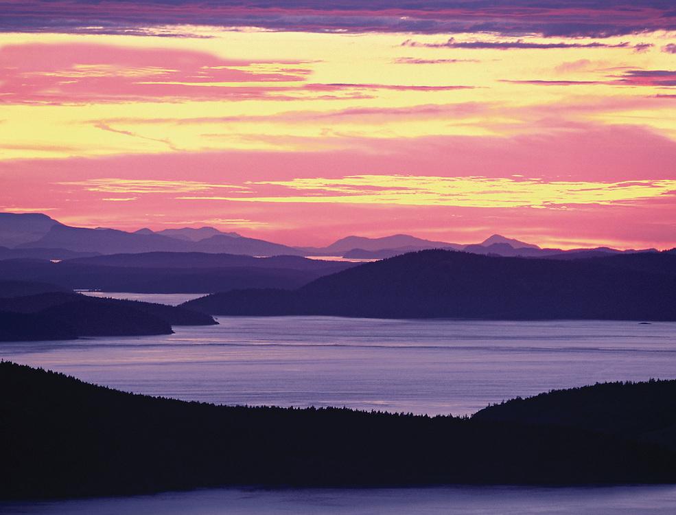 Intense sunset over San Juan Islands, Washington State