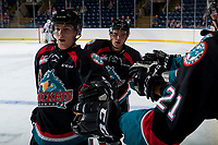 KELOWNA, CANADA - SEPTEMBER 5: Jack Cowell #8 and Erik Gardiner #12 of the Kelowna Rockets celebrate a goal against the Kamloops Blazers on September 5, 2017 at Prospera Place in Kelowna, British Columbia, Canada.  (Photo by Marissa Baecker/Shoot the Breeze)  *** Local Caption ***