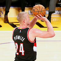 11 October 2016: Portland Trail Blazers forward Mason Plumlee (24) is seen at the free throw line during the Portland Trail Blazers 109-106 OT victory over the Los Angeles Lakers, at the Staples Center, Los Angeles, California, USA.