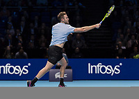 Tennis - 2017 Nitto ATP Finals at The O2 - Day Five<br /> <br /> Group Boris Becker Singles: Alexander Zverev (Germany) Vs Jack Sock (United States)<br /> <br /> Jack Sock (United States) on his way to victory and a place in the semi finals at the O2 Arena<br /> <br /> COLORSPORT/DANIEL BEARHAM