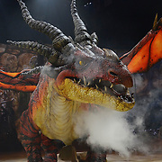 "WILKES BARRE, PA - JUNE 26:  Monstrous dragon ""Nightmare"" breathes fire at DreamWorks' ""How To Train Your Dragon Live Spectacular"" North American tour at Mohegan Sun at Pocono Downs on June 26, 2012 in Wilkes Barre, Pennsylvania.  (Photo by Lisa Lake/Getty Images)"