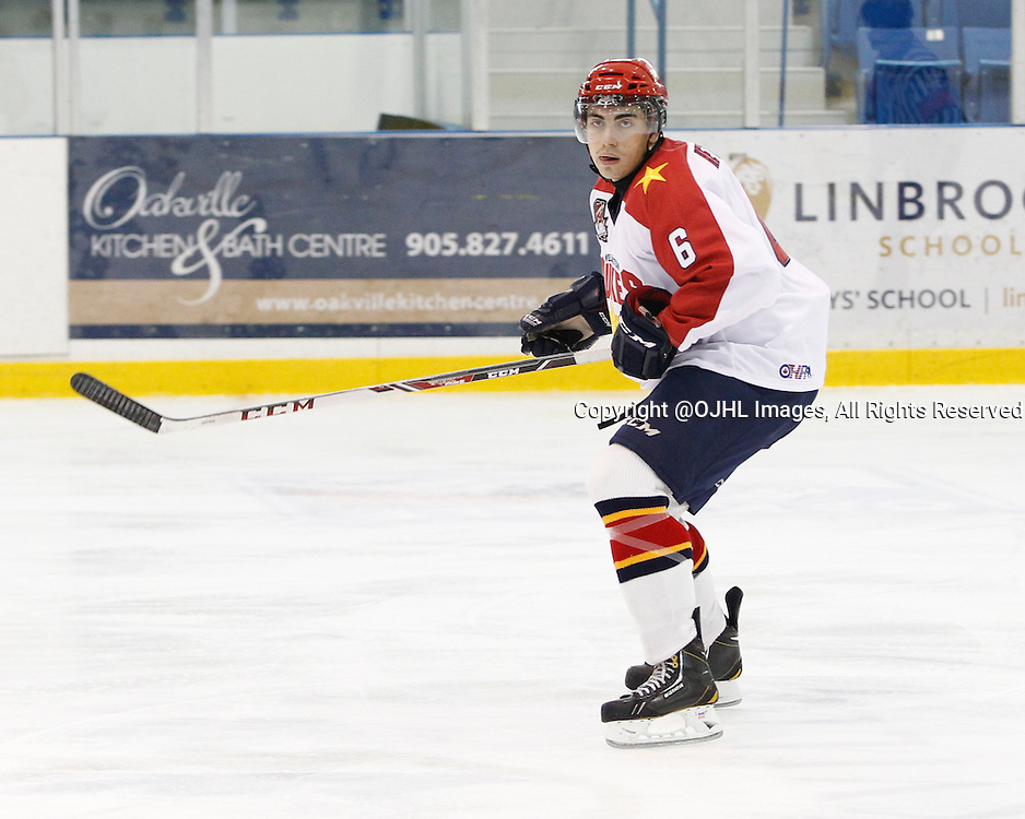 OAKVILLE, ON - Sep 28, 2014 :  Ontario Junior Hockey League game action between Wellington and Buffalo at the Governor's Showcase Tournament. Jacob Hetherington #6 of the Wellington Dukes Hockey Club during the first period,<br /> (Photo by Tim Bates / OJHL Images)
