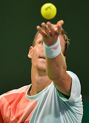 DOHA, Jan. 7, 2017  Tomas Berdych of the Czech Republic serves to Andy Murray of Britain during the men's singles semifinal of the ATP Qatar Open tennis tournament at the Khalifa International Tennis Complex in Doha, capital of Qatar, on Jan. 6, 2017. Tomas Berdych lost 0-2.  wll) (Credit Image: © Nikku/Xinhua via ZUMA Wire)