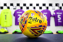 The Sky Bet EFL Mitre Delta winter ball is prepared for use for the first time this season in the Bristol City dressing room - Rogan/JMP - 31/10/2017 - Craven Cottage - London, England - Fulham FC v Bristol City - Sky Bet Championship.
