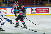 KELOWNA, CANADA - OCTOBER 5:  Cayde Augustine #5 of the Kelowna Rockets passes the puck against the Victoria Royals on October 5, 2018 at Prospera Place in Kelowna, British Columbia, Canada.  (Photo by Marissa Baecker/Shoot the Breeze)  *** Local Caption ***