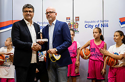 Darko Bulatović and Luc Vergoossen of FIBA during Reception of Women's Eurobasket 2019 teams and FIBA officials at Mayor of City of Nis, on June 29, 2019 in City hall, Nis, Serbia. Photo by Vid Ponikvar / Sportida