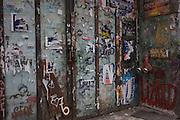 A graffiti-covered doorway in the German city of Berlin district of Kreuzberg.