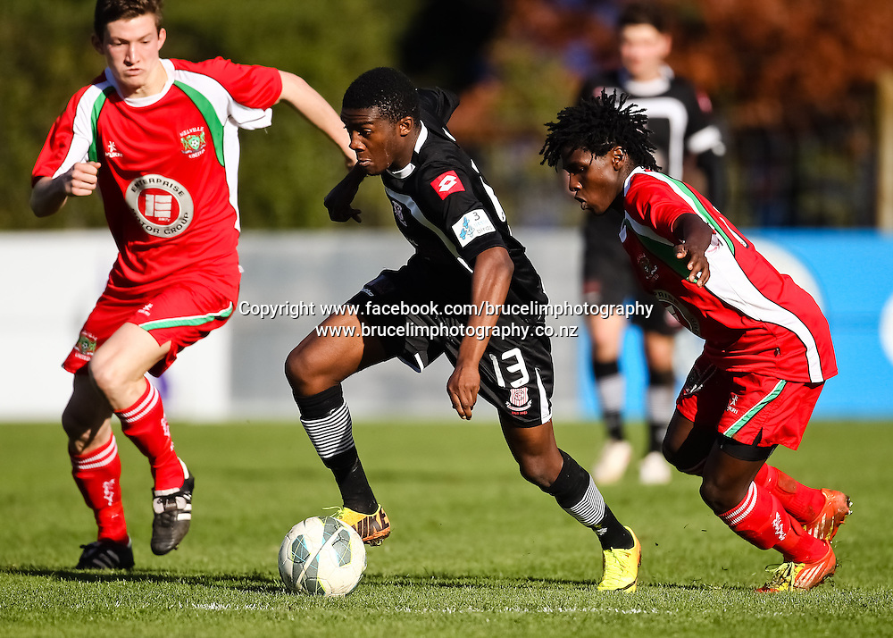 Birkenhead United's Roussi Nkoy during the ASB Chatham Cup soccer quarter final match, Melville United AFC v Birkenhead United AFC at Gower Park, Melville, Hamilton on Saturday 27 July 2013.  Photo:  Bruce Lim / photosport.co.nz