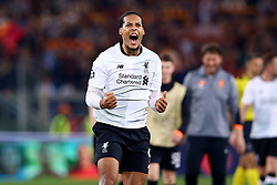 May 2, 2018 - Rome, Lazio, Italy - AS Roma v FC Liverpool - Champions League semi-final second leg.Virgil Van Dijk of Liverpool celebrates at Olimpico Stadium in Rome, Italy on May 02, 2018. (Credit Image: © Matteo Ciambelli/NurPhoto via ZUMA Press)