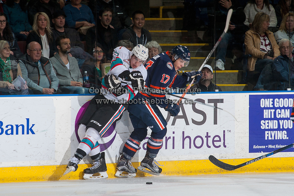KELOWNA, CANADA - MARCH 5: Jiri Smejkal #17 of Kamloops Blazers checks Cal Foote #25 of Kelowna Rockets at the boards on March 5, 2016 at Prospera Place in Kelowna, British Columbia, Canada.  (Photo by Marissa Baecker/Shoot the Breeze)  *** Local Caption *** Jiri Smejkal; Cal Foote;