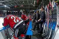 KELOWNA, CANADA - OCTOBER 27: The Kelowna Rockets' bench against the Tri-City Americans on October 27, 2017 at Prospera Place in Kelowna, British Columbia, Canada.  (Photo by Marissa Baecker/Shoot the Breeze)  *** Local Caption ***